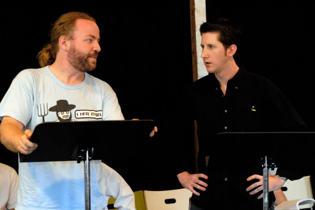 Ray and Nathan rehearsing Coriolanus